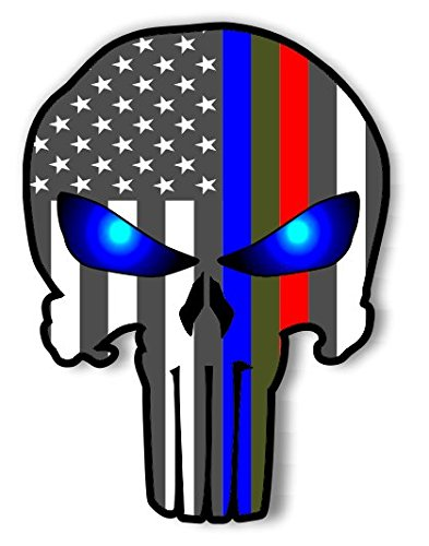 Punisher Police Military and Fire Thin Line USA Flag Decal American Flag Sticker Blue Green and Red stripe for cars trucks for honor and support of our officers and troops Vinyl Window Bumper -