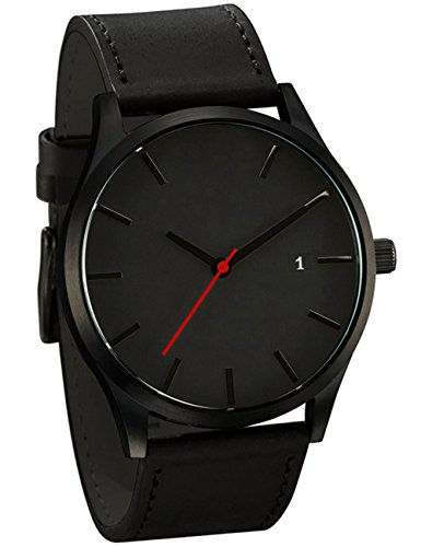 Mens analog quartz watch poto on clearance leather band alloy dress wrist watch gift watches ry for Watches clearance
