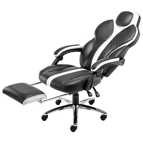 Kerms Gaming Chair Ergonomic High Back PU Leather Racing Style with Adjustable Armrest and Back Recliner Swivel Rocker Office Chair Black White