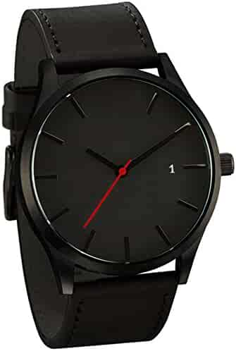 Mens Analog Quartz Watch,POTO On Clearance Leather Band Alloy Dress Wrist Watch Gift Watches RY-429 (Black)