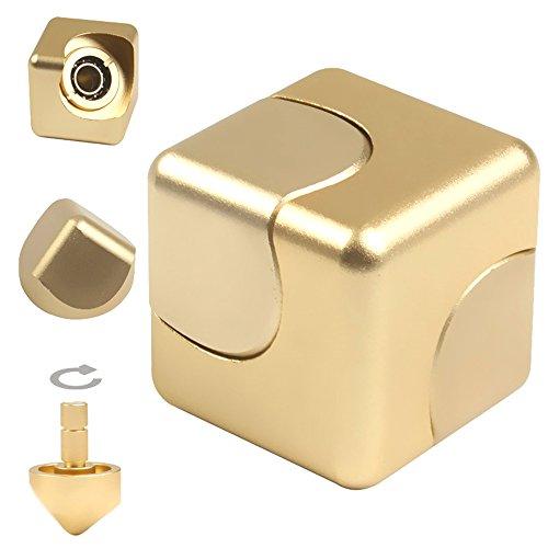 JZH Infinity Cube Fidget Hand Spinner Finger Spin Toys, Removable Finger Gyro Rubik Cube Naughty toys. (Golden)