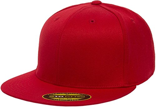 (Flexfit Premium Flatbill Cap - Fitted 6210 - Large/X-Large (Red))