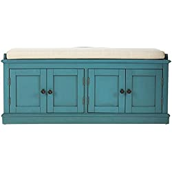 "Laughlin Storage Bench, 20""Hx47""Wx18""D, ANTIQUE BLUE"
