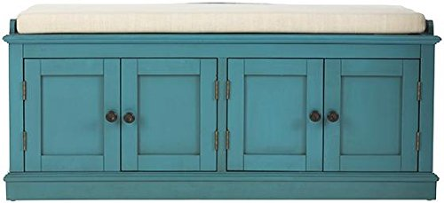 """Home Decorators Collection Laughlin Storage Bench, 20"""" Hx47 Wx18 D, Antique Blue - 20.5""""H x 47.5""""W x 18""""D. Cushion: 2.5""""H x 44.75""""W x 17""""D. Assembly required. - entryway-furniture-decor, entryway-laundry-room, benches - 41FyARseTXL -"""