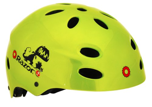 Green Razor (Razor V-17 Child Multi-Sport Helmet, Dino Gloss Green)