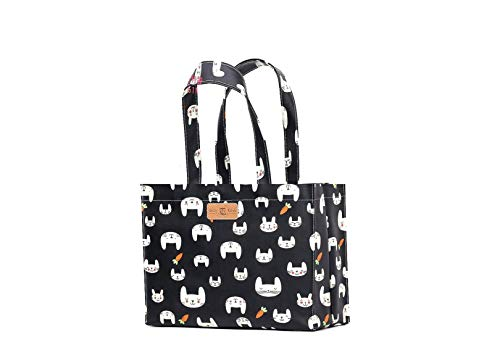 Bag Shopping Bag Black Bookbag Music with Tote Rabbit Tote Oilcloth Bag Gusset twtqSY7x