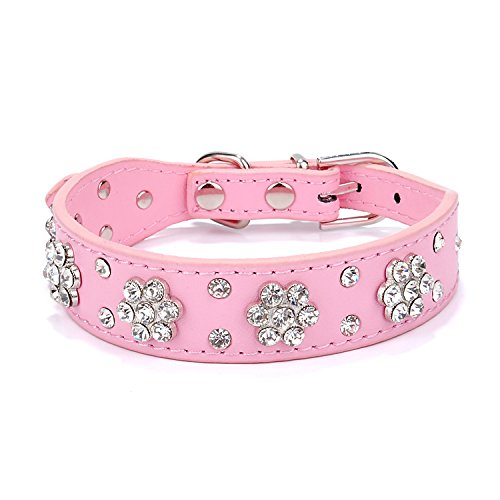 Gimilife Pet Collars 2 Rows Rhinestone Bling Flower Studded Pu Leather Dog Collar for Small or Medium Dogs Cats (Pink, S)