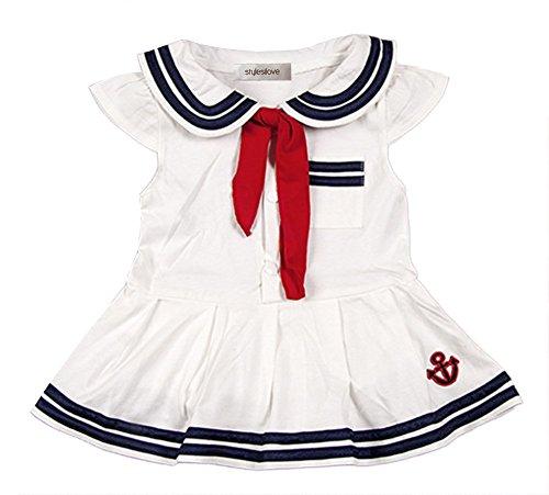 StylesILove Baby Girls Sailor Costume Romper (100/18-24 Months, White)