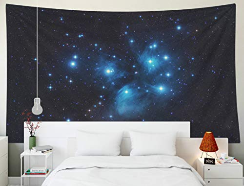 (Sertiony Map Tapestry Wall Hanging, Art Home Décor 80x60 Inches The Seven Sisters Deep Sky Open Star Cluster in Constellation Taurus Pleiades Astrophoto for Bedroom Colorful Big Tapestries)