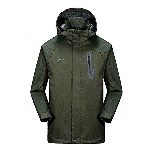 BENNINGCO Mens Outdoor Jacket Raincoat Hiking Ski jacket waterproof Rain Jacket(Green,2XL)
