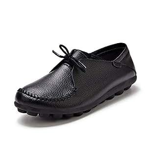 August Jim Zapatos Mocasines para Mujer, con Cordones, Informales, de Piel, Zapatos