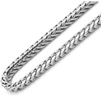 """925 Sterling Silver Rhodium Plated Italian 2.5mm Solid Franco Square Box Link Necklace Chain 16"""" - 30"""" for Men & Women"""