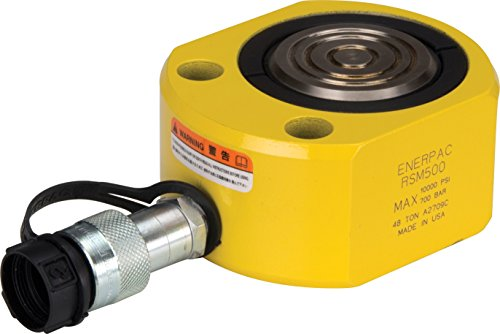 Enerpac RSM-500 Flat Jac Single-Acting Low-Height Hydraulic Cylinder with 50-Ton Capacity, Single Port, 0.63'' Stroke Length by Enerpac