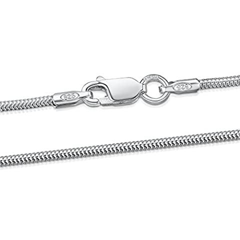 Amberta 925 Sterling Silver 1.2 mm Snake Chain Size: 16 18 20 22 24 inch (18inch)