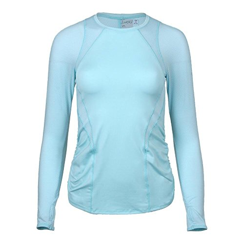 Lucky In Love Women`s Contour Long Sleeve Tennis Top Aquafrost-(655295867397) by Lucky In Love