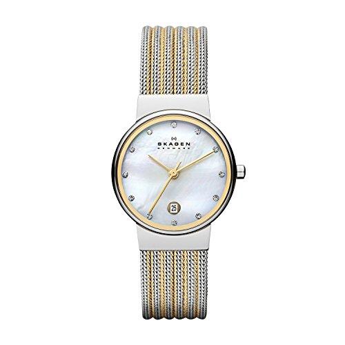 Skagen 355SSGS Ladies Two Tone Striped Watch