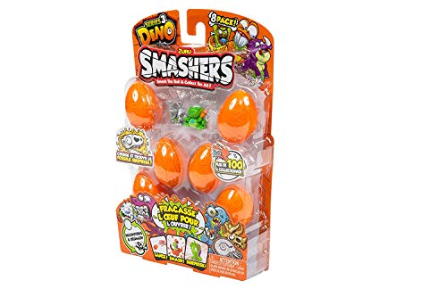 ZURU SMASHERS 7438 Series 3 Dino 8-Pack with Dig n' Find Surprise, Orange, One Size
