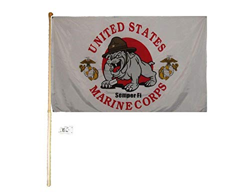 American Wholesale Superstore 3x5 3'x5' United States Marine Corps Semper Fi Devil Dog Mascot Polyester Flag with 5' (Foot) Flag Pole Kit with Wall Mount Bracket & Screws ()