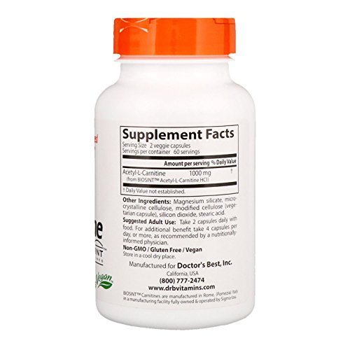 Doctor's Best Acetyl-L-Carnitine with Biosint Carnitines, Non-GMO, Vegan, Gluten Free, 500 mg 120 Veggie Caps by Doctor's Best (Image #1)
