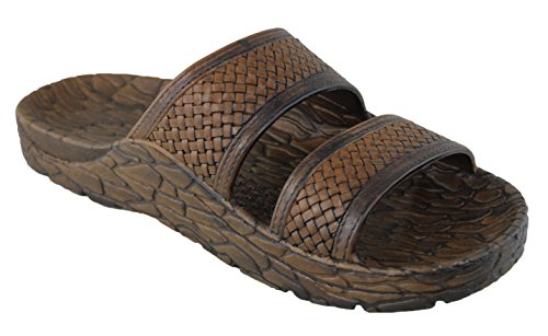 Pali Hawaii Rugged Men's Jesus Sandals Jandals (8) Brown (Mens Rugged Casual Sandal)