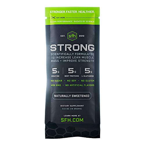 Strong Muscle Builder by SFH | Creatine Glutamine & Serum Beef Protein for Lean Muscle Growth & Strength | Keto Workout Supplements for Men & Women | Free of Gluten Sugar Soy GMO (10 Single Serves)