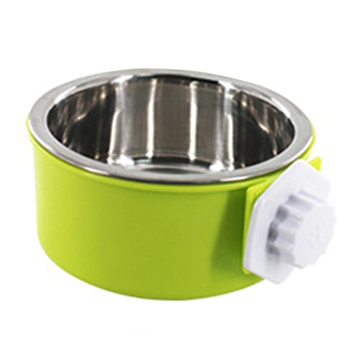 Urijk Slanted Cat Food Dish No Spill, Tilt Bowl with Anti Skid Rubber Base for Kitty Kitten, Anti Spill Water Bowl Dish Mess Proof Wide Mouth, Pet Cat Feeding Watering Supplies (L, Green 2) from Urijk