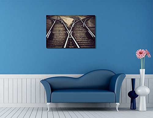Vintage Railway Junction with Several Tracks Home Deoration Wall Decor