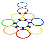 Dovewill 15.5inch Diameter 10 Rings & 10 Ring Clips Twister Hopscotch Games Indoor/Outdoor Play for Kids Exercising Imagination Play Toys