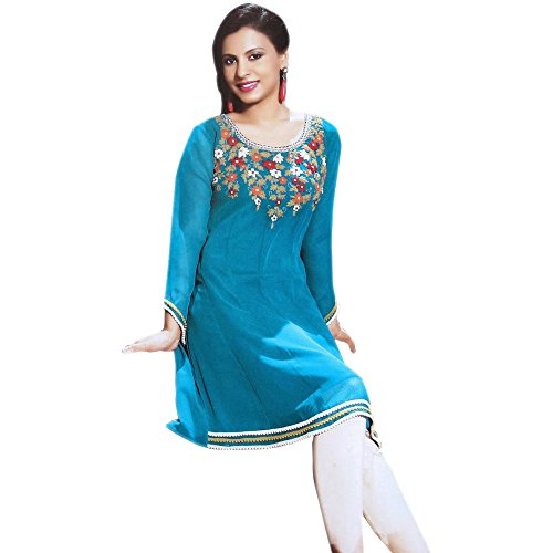 Jayayamala Blue Georgette Tunic Hem Lace Work Top Dress (xxl)