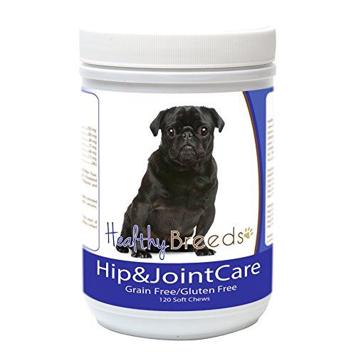 Healthy Breeds Dog Arthritis Supplement for Senior Dogs for Pug, Black - OVER 200 BREEDS - Bacon Flavor - Gluten & Grain Free - Easier Than Liquid or Pills - 120 Chews