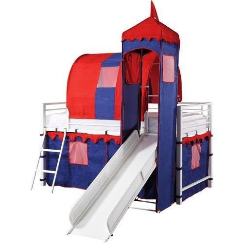 Castle Tent Twin Loft Bed Slide Playhouse w/ Under Bed Storage Red...