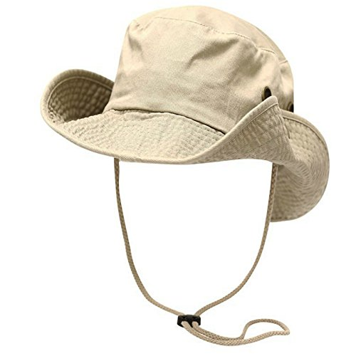Aviator Khaki (Khaki Washed Cotton Safari Bucket Hat Fisherman Chinstrap Summer Bonnie Bush Cap)