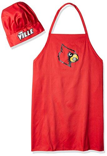 p NCAA Louisville Cardinals Mens Chef Hat & Apron, Full Color Team Logo (Pro Shop Apron)
