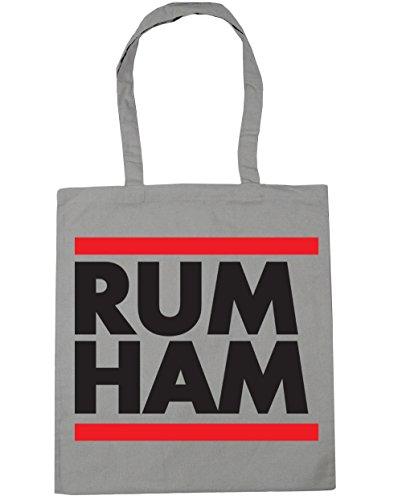 HippoWarehouse Rum Ham (Ron Jamón) Bolso de Playa Bolsa Compra Con Asas para gimnasio 42cm x 38cm 10 litros capacidad Gris Claro