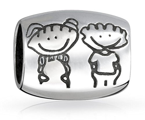 Oval Womens Charm - Siblings Brother and Sister Oval Charm Bead .925 Sterling Silver