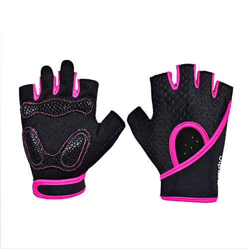 (OPENDOORRED Fitness Gloves,Men Women Outdoor Sport Yoga Training Slip Half Finger Breathable Gloves,Shock Absorption and Wear and Sweat Absorption (2 Pieces),Pink,M)