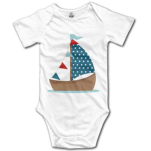 ACAmele Baby Cute Sailboat Clipart Cotton Infant Onesie Baby Outfits White ()