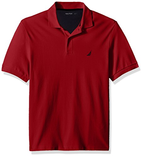 (Nautica Men's Short Sleeve Solid Cotton Pique Polo Shirt, red, Small)