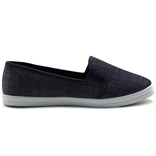 Ollio Scarpe Da Donna Casual Slip On Sneakers Canvas Flat Indigo