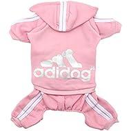 Scheppend Original Adidog Pet Clothes for Dog Cat Puppy Hoodies Coat Doggie Winter Sweatshirt Warm Sweater Dog Outfits, Pink Small