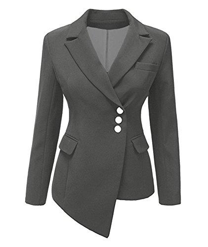 IyMoo Womens Casual Work Office Blazer Jacket Gray (Military Style Blazer)