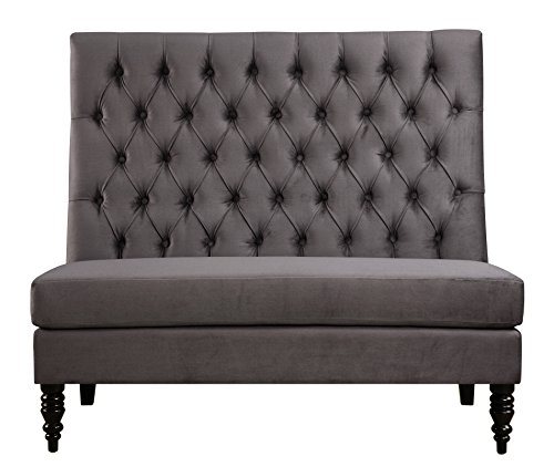 Pulaski Button Tufted Upholstered Settee in Tucar Velvet Skylark, Medium, Silver (Seating Dining Banquette)