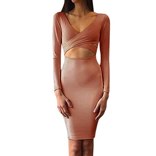 LvRao Damen Sexy VAusschnitt Cross Wrap Cut Out Bodycon Kleid ...