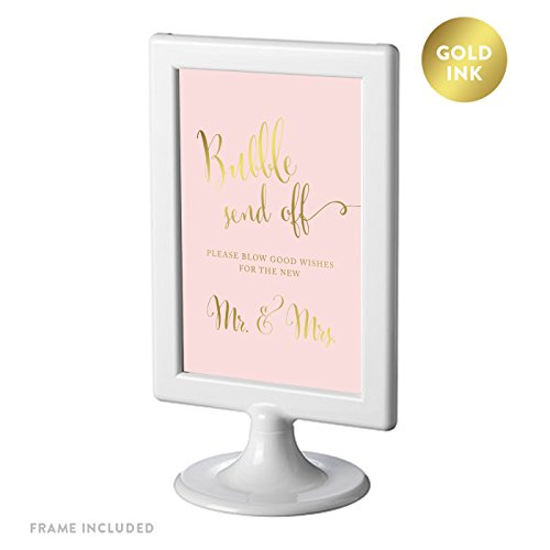 Andaz Press Framed Wedding Party Signs, Blush Pink with Metallic Gold Ink, 4x6-inch, Bubble Send Off Please Blow Good Wishes for the New Mr. & Mrs. Sign, Double-Sided, 1-Pack