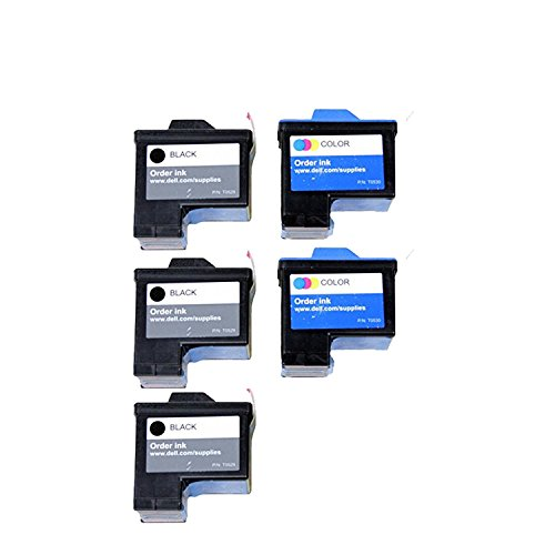 5 Pack Remanufactured (Series 1) 3 x DELL T0529 Black and 2 x T0530 Color Ink Cartridges for Dell A920 All-In-One and 720 Printers