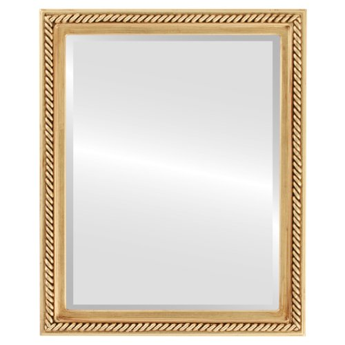 Rectangle Beveled Wall Mirror for Home Decor - Santa Fe Style - Gold Leaf - 20x26 outside dimensions by Oval And Round Mirrors