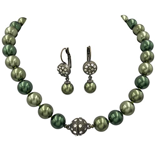 (Single Strand Glass Beaded Rhinestone Fireball Simulated Pearl Necklace Earrings Set (Dark Green Vintage Silver Tone))