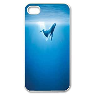 Cases For iPhone 4/4s, Humpback Whale Blue Ocean Cases For iPhone 4/4s, Tyquin White