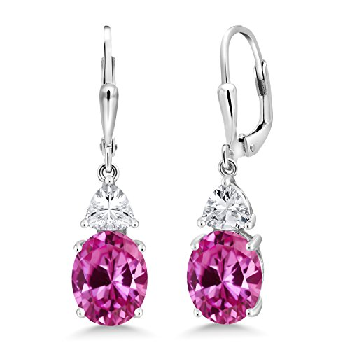 Earrings Oval Sapphire Pink (Gem Stone King 6.50 Ct Oval Pink Created Sapphire 925 Sterling Silver Dangle Earrings)