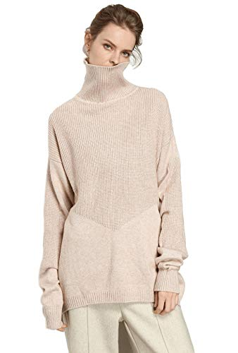 RanRui Women's Baggy Cashmere Sweater Tunic Sweater Loose Casual Long Sleeve Turtleneck (One Size, 8017 Beige)